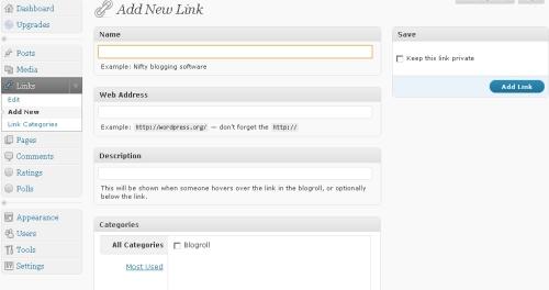 layar pengisian link baru