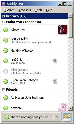 Daftar teman di pidgin.