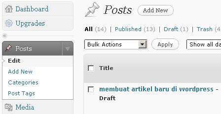 Klik Add New utk membuat artikel baru