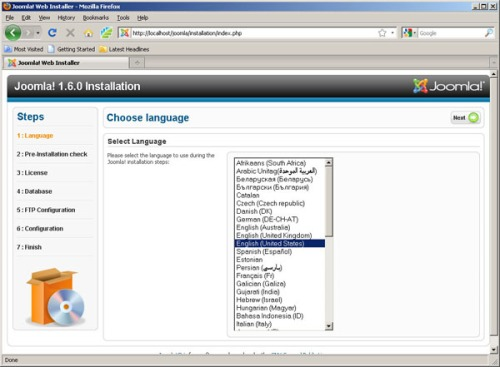 Gambar 2. Pilihan Bahasa yg digunakan saat Instalasi Joomla
