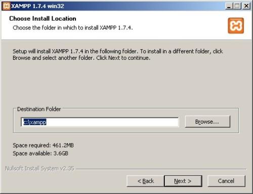 Gambar 3. Tentukan folder Instalasi XAMPP