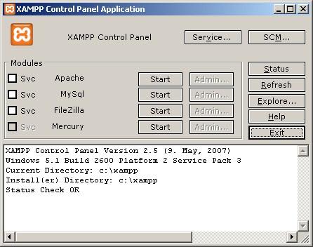 Gambar 8. Control Panel XAMPP
