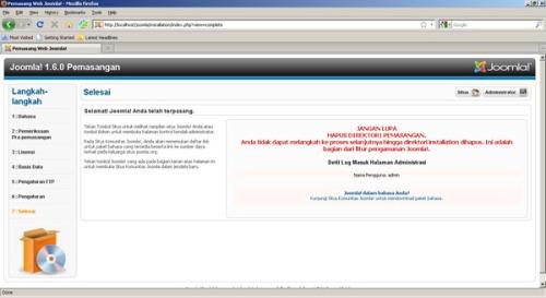Gambar 8. Proses Instalasi Selesai, Peringatan utk hapus folder Instalasi