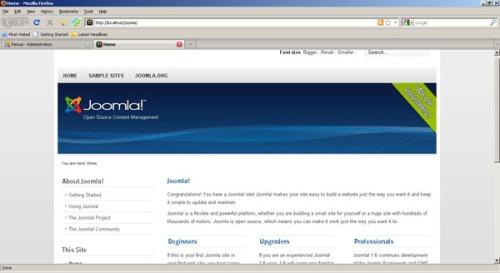 Gambar 9. Layar Home, situs dengan template default joomla
