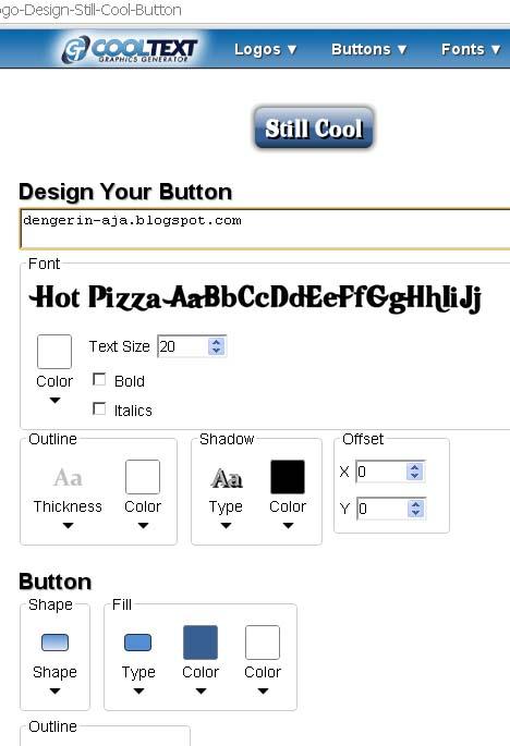 Layar Edit atau Setting TOMBOL di cooltext.com