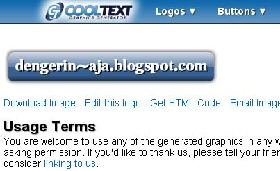 Layar hasil akhir di cooltext.com