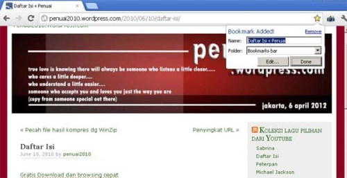 Gambar 1. Cara Bookmark di Google Chrome