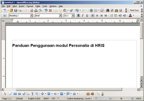 Gambar 1. Dokumen OpenOffice.org writer