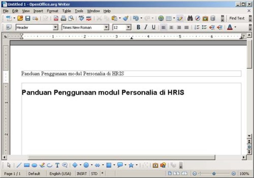 Gambar 3. Header di OpenOffice.org Writer